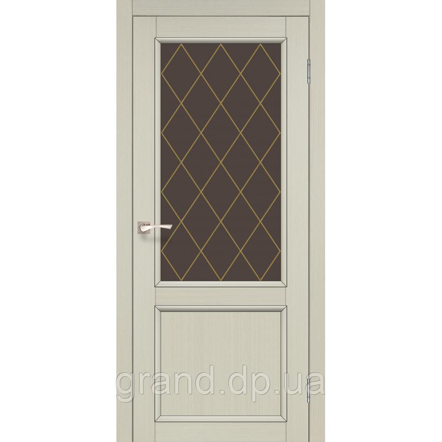 Двери межкомнатные Корфад CL-02 цвет дуб беленый с бронзовым стеклом