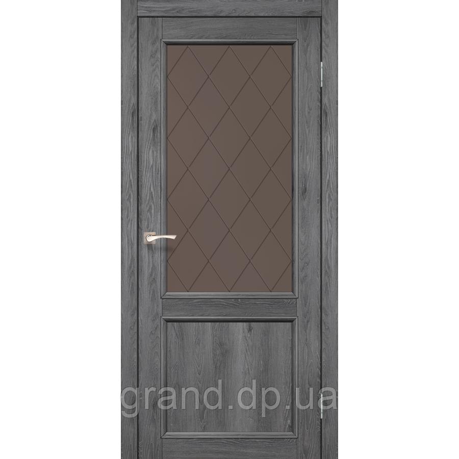 Двери межкомнатные Корфад CL-02 дуб марсала  с бронзовым стеклом