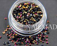 Стразы для ногтей 2 мм, 1 баночка, черные хамелеоны, золото-розовые, фото 1
