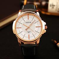 Мужские часы Yazole 358 белые с черным ремешком