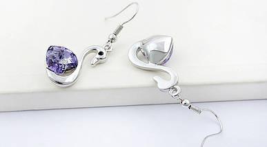 Комплект набор украшений с кристаллами Swarovski (Сваровски) с лебедями фиолетового цвета бижутерия kp19, фото 3