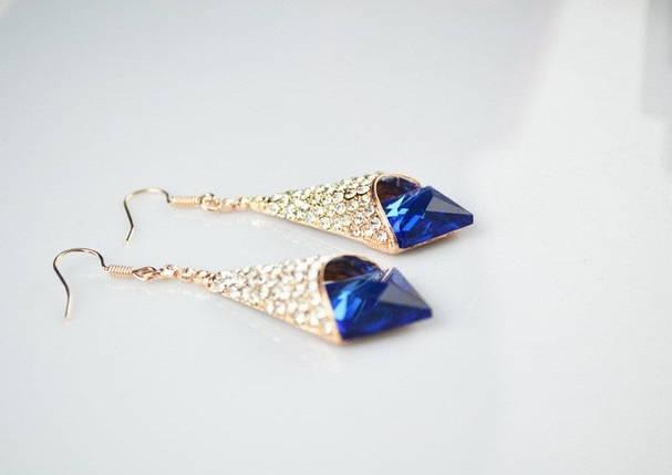 Серьги с синими кристаллами камнями Swarovski (Сваровски) es252, фото 2
