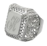 """Серебряное мужское кольцо """"Граф"""" (с инициалами любимого мужчины) - незабываемый подарок"""