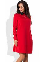 Красное платье из трикотажа с кожаным воротником
