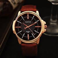 Мужские часы Yazole 358 черные с коричневым ремешком, Чоловічий наручний годинник, Часы мужские наручные