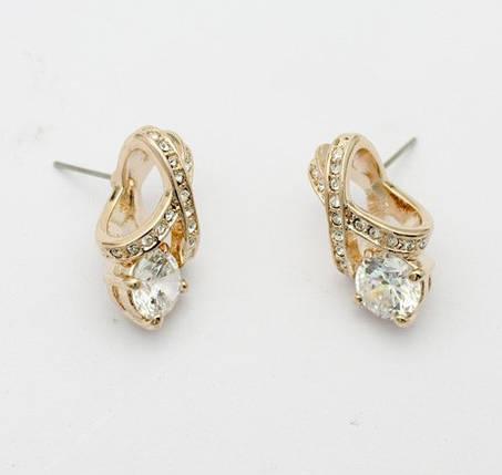 Серьги с белыми кристаллами камнями Swarovski (Сваровски) es336, фото 2