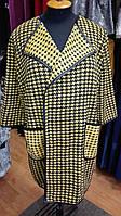 Жакет длинный желтого цвета в гусиную лапку