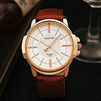 Мужские часы Yazole 358 белые с коричневым ремешком