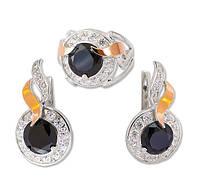 Серебряный набор с золотыми накладками и фианитами (кольцо и серьги)- роскошь и изысканность для женщины