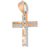 Серебряный крестик с золотом
