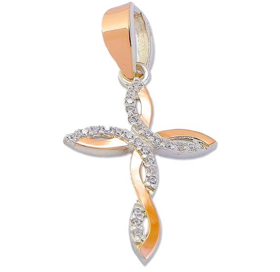 Срібний хрестик з золотими пластинами і фіанітами - благородство срібла і розкіш золота