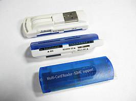 Картридер универсальный 4в1 MERLION CRD-7 TF/Micro SD, USB2.0, OEM