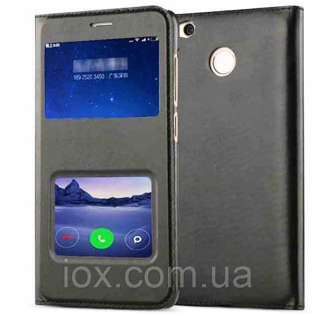 Черный кожаный чехол-книжка с двумя окошками для Xiaomi Redmi 4X