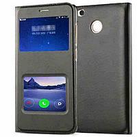 Черный кожаный чехол-книжка с двумя окошками для Xiaomi Redmi 4X, фото 1