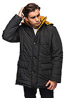 Зимняя куртка для мужчин.   черный-горчица