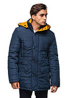 Зимняя куртка для мужчин.   синий - горчица