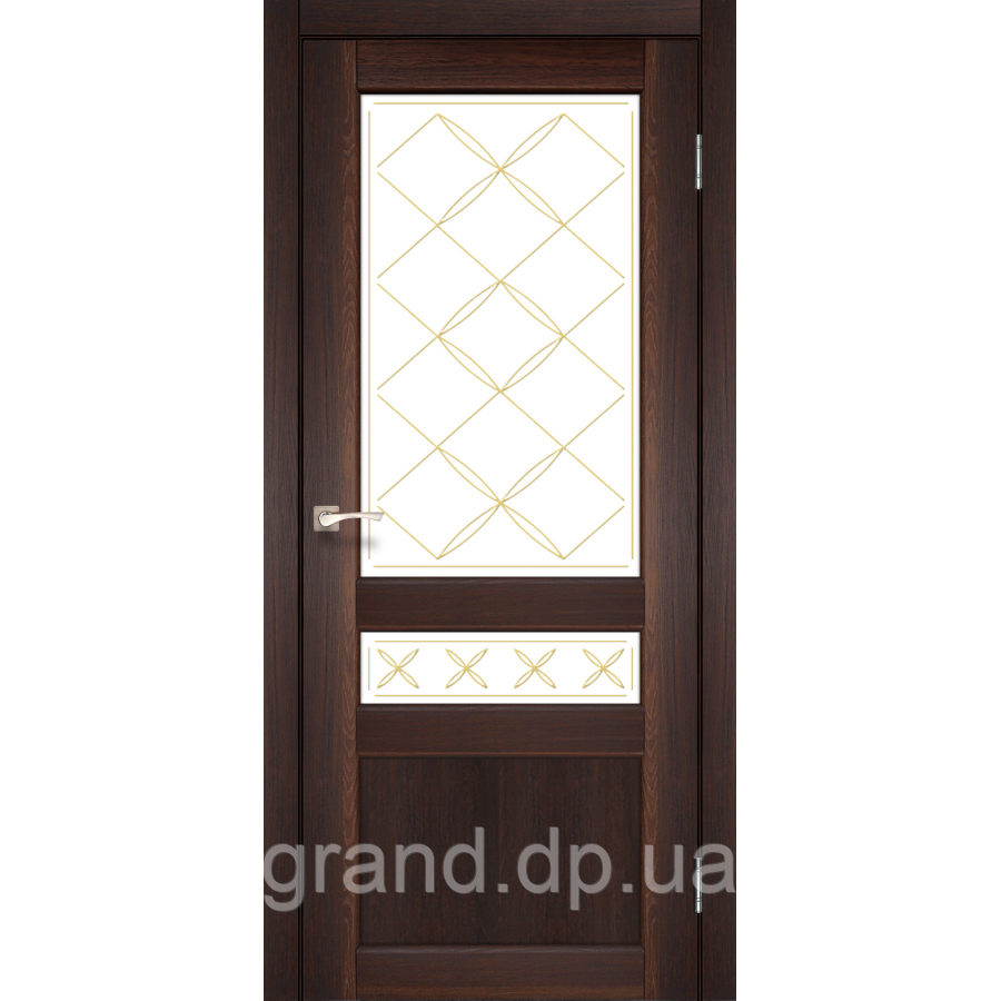 Двери межкомнатные Корфад CL-04 орех  с матовым стеклом