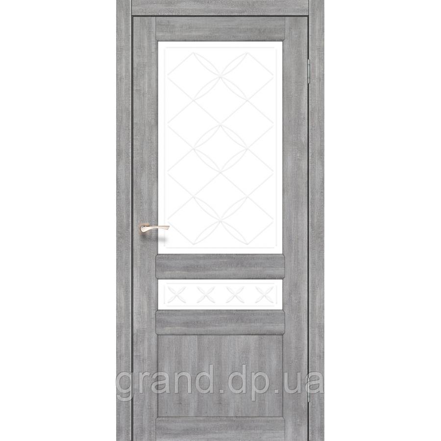 Двери межкомнатные Корфад CL-04 эш вайт   матовым стеклом