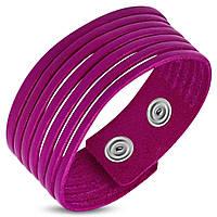 Женский кожаный браслет малинового цвета на заклепках, фото 1