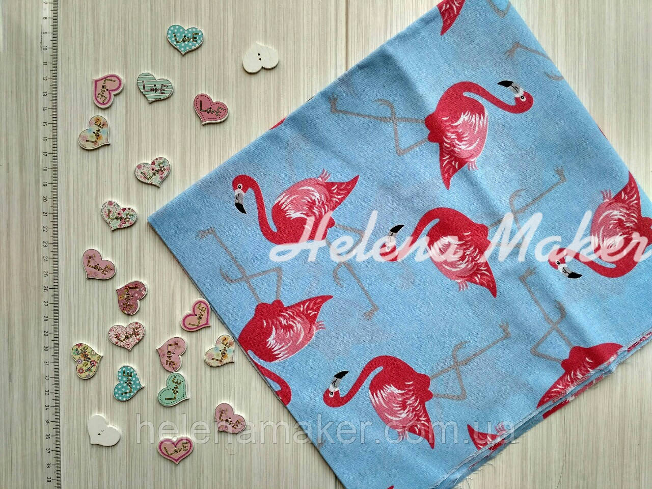 Отрез хлопка для рукоделия Фламинго на голубом 50*50 см