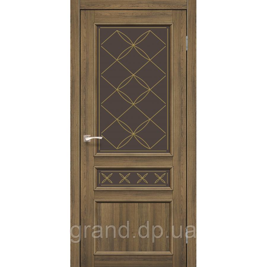 Двери межкомнатные Корфад CL-05 дуб браш с бронзовым стеклом