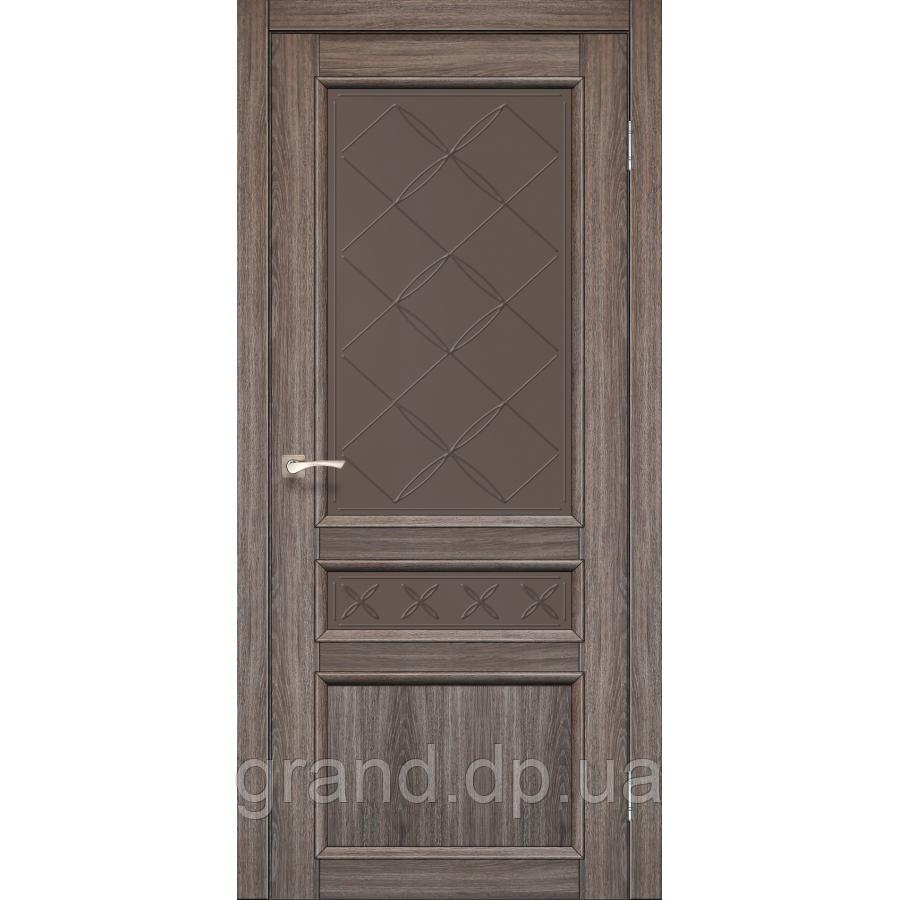 Двери межкомнатные Корфад CL-05 цвет дуб грей с бронзовым стеклом