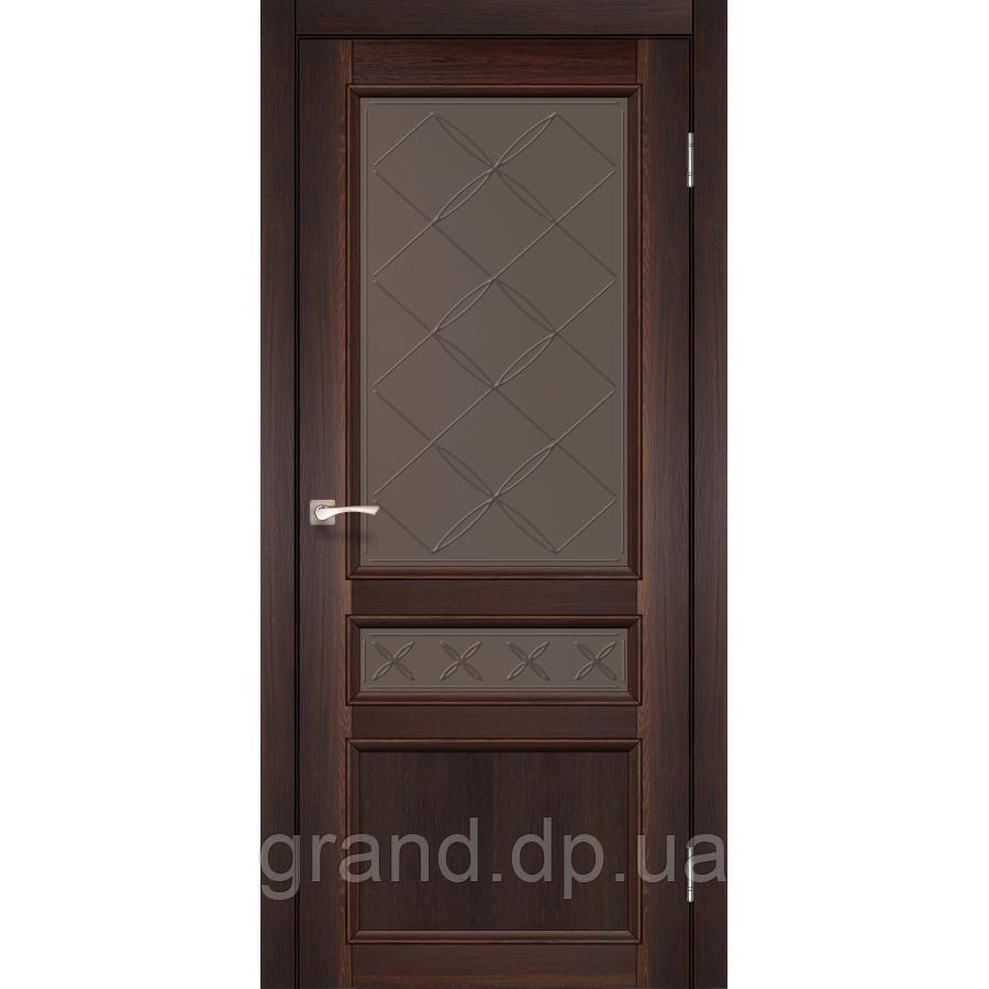Двери межкомнатные Корфад CL-05 орех с бронзовым стеклом