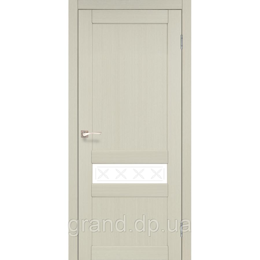 Двери межкомнатные Корфад CL-06 дуб беленый с матовым стеклом