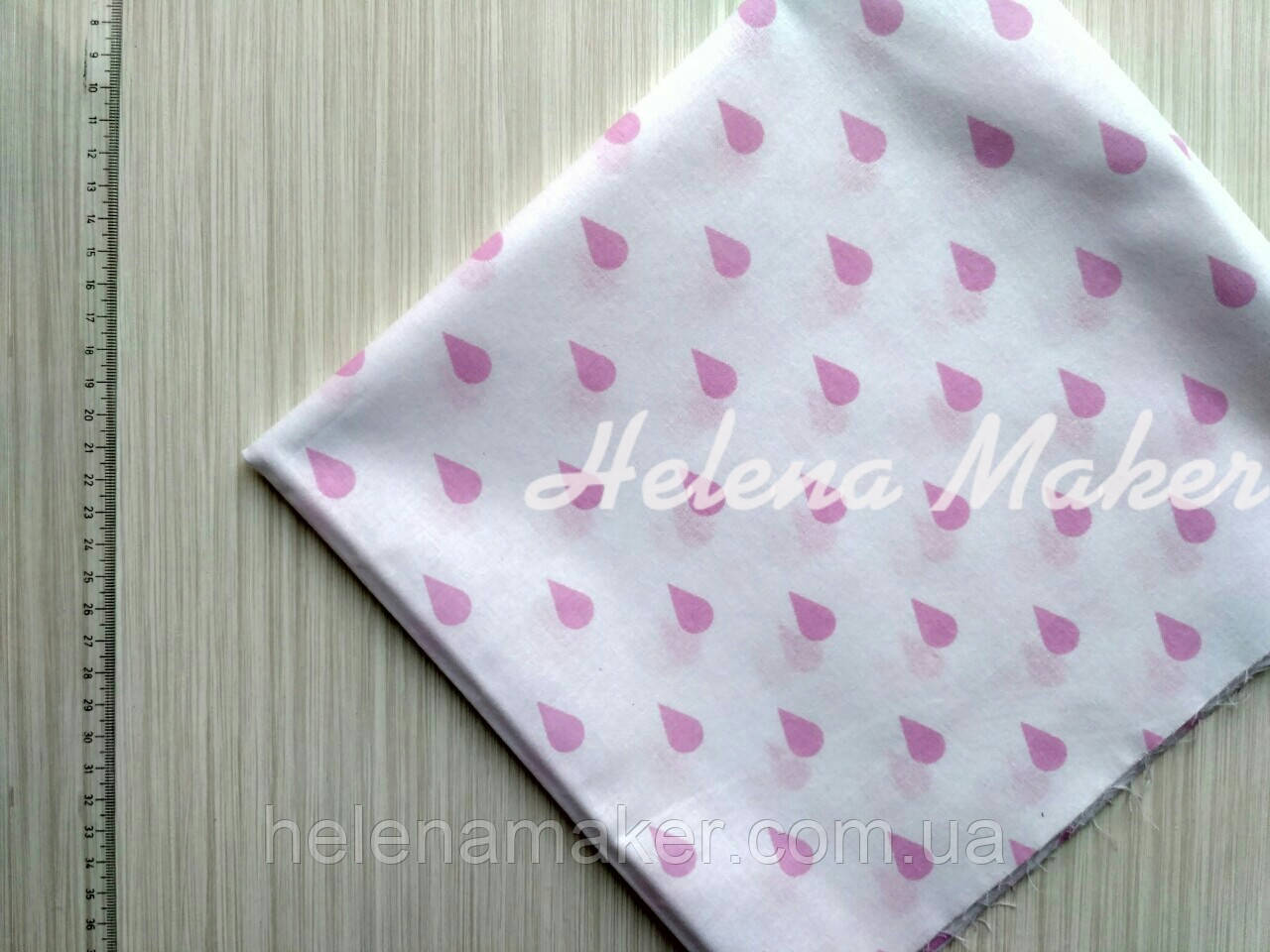 Отрез хлопка для рукоделия Белый с розовыми капельками 50*55 см