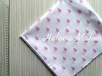 Отрез хлопка для рукоделия Белый с розовыми капельками 50*55 см, фото 1