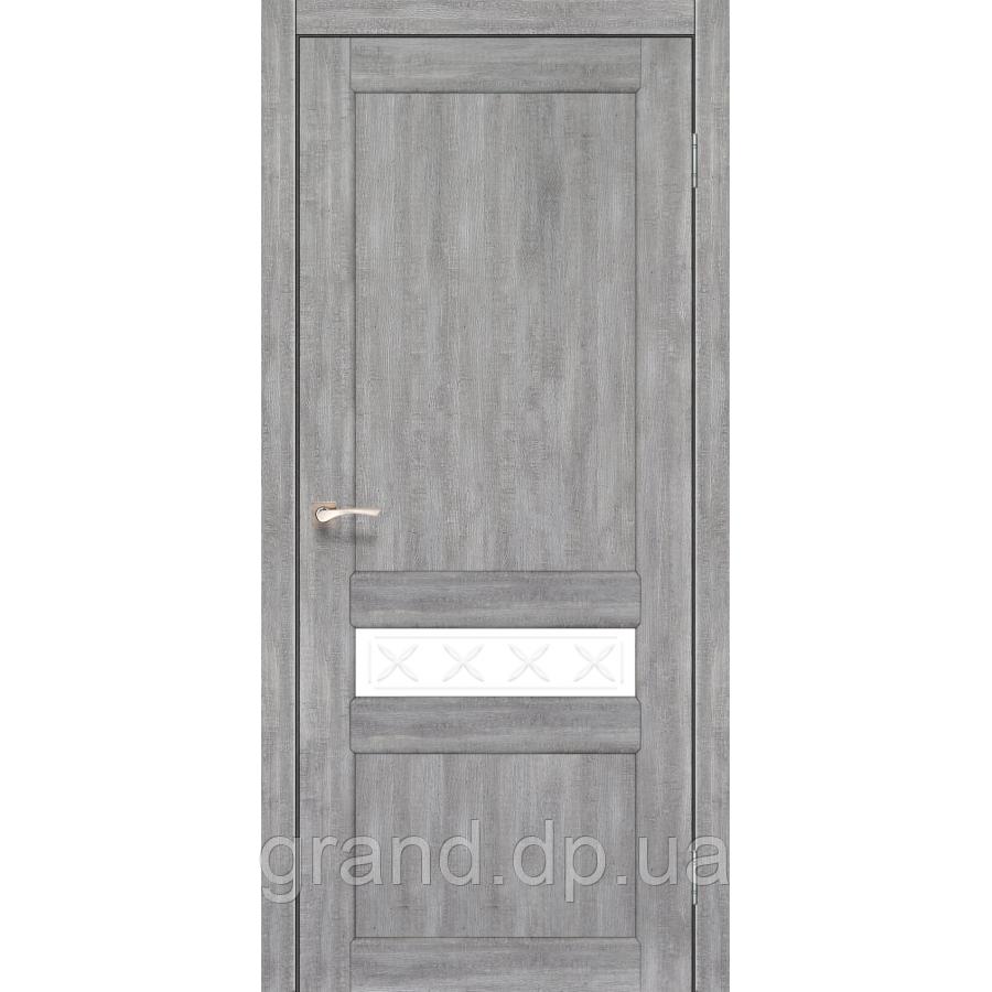 Двери межкомнатные Корфад CL-06 эш вайт с матовым стеклом