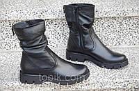Ботинки, полусапожки женские зимние натуральная кожа, мех черные практичные (Код: Б895а)