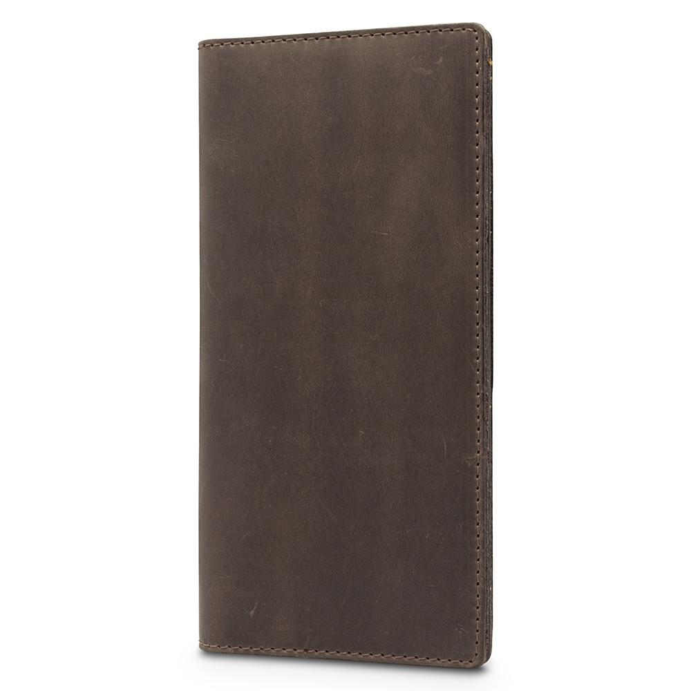 Коричневый кожаный бумажник с натуральной матовой кожи
