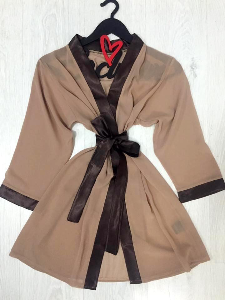 Шифоновый женский халат бежевый