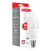Лампа LED Maxus C37 CL-F 6W 3000K 220V E14 (1-LED-533)