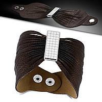 """Женский кожаный браслет """"Бабочка"""" коричневый, фото 1"""
