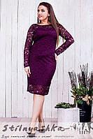 Вечернее платье для полных из гипюра бордо, фото 1