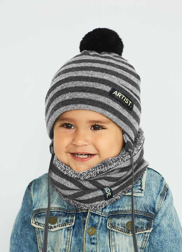 Детская зимняя шапка (набор) для мальчиков ВЕСЛИ оптом размер 44-46-48