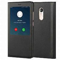 Черный кожаный чехол-книжка с окошками для Xiaomi Redmi Note 4x, фото 1