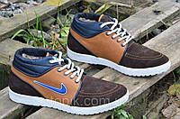 Кроссовки мокасины туфли зимние кожа замша мужские Nike найк реплика коричневые (Код: Б225)