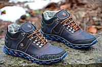 Кроссовки ботинки зимние кожа мужские темно синие Columbia Коламбия реплика для водителя (Код: Б288а)