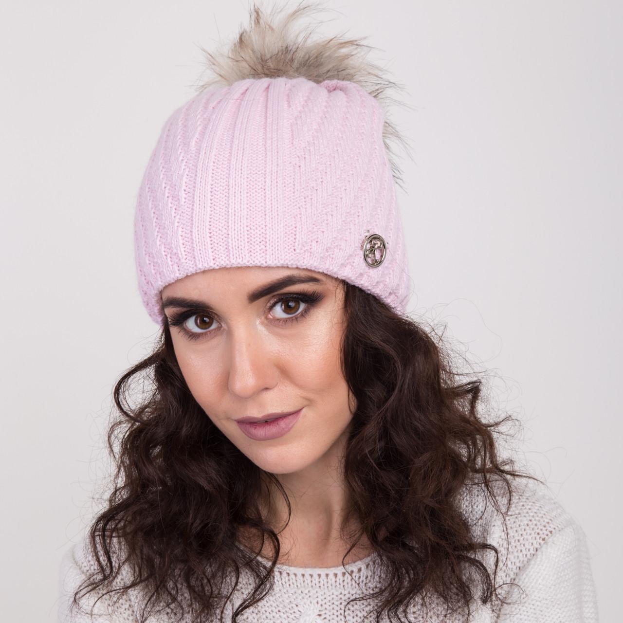 Женская вязанная шапка с меховым помпоном - зима 2018 - Артикул 2148 (розовый)