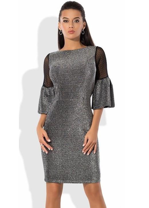Платье из трикотажного люрекса с рукавами из сетки