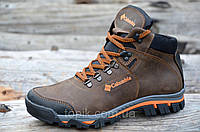 Крутые зимние мужские ботинки натуральная кожа, мех, шерсть коричневые молодежные 2017 (Код: Б916)