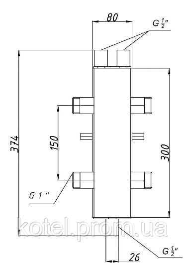 Схема гидроуравнивателя Termojet СК-25 с теплоизоляцией