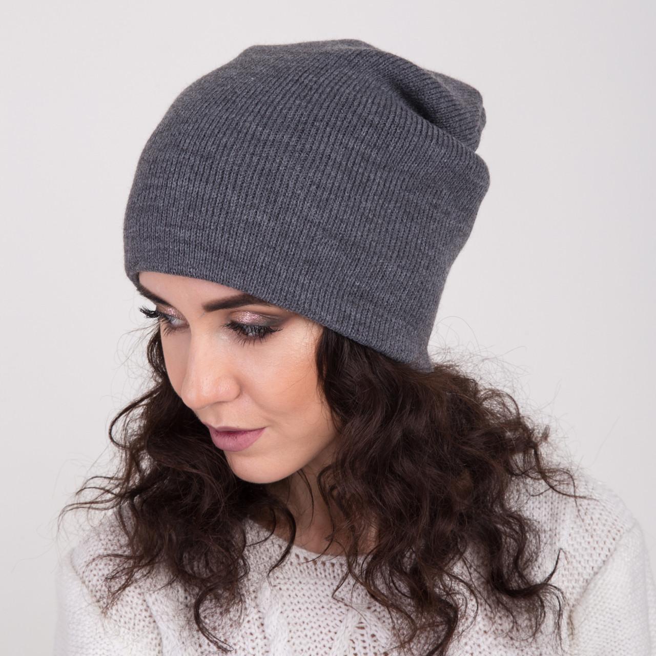 Вязаная зимняя женская шапка-чулок - Артикул 2156 (серый)