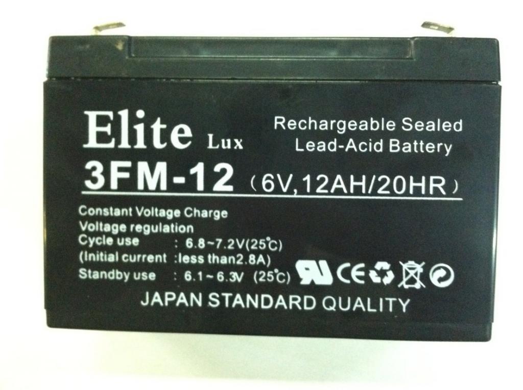 Аккумулятор Elite 3FM-12 (6v,12AH/20HR)