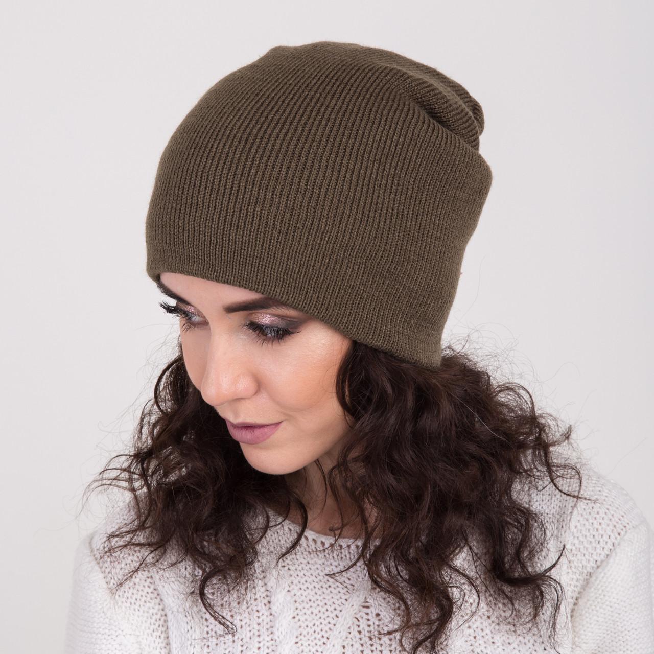 Вязаная зимняя женская шапка-чулок - Артикул 2156 (оливка)