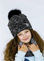 Детская шапка (набор) ДЖАДИС для девочек оптом р. 52-54