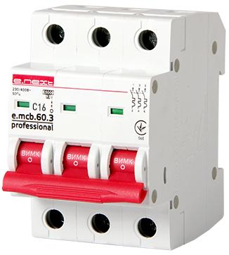 Модульный автоматический выключатель e.mcb.pro.60.3.C 16 new, 3р, 16А, C, 6кА new